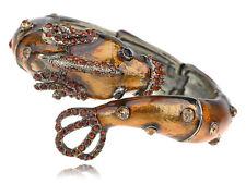 Charm Sea Monster Critter Pond Topaz Crystal Rhinestone Bracelet Bangle Cuff