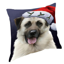 Christmas Anatolian Shepherds Dog with Santa Hat Throw Pillow 14x14