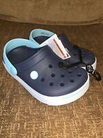Crocs Kids Crocband II Slip On Clog Navy Ice Blue Boys Size J 1