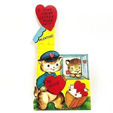 Vtg 40s 50s Valentines Card Kitty Cat Mailman Mail Bag Postal Worker Ephemera