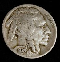 1934 D 5 cent Buffalo Nickel US Coin Indian Head NICKEL **