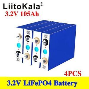 4pcs 3.2V 105Ah LiFePO4 Battery Iron Phosphate Genuine E-Bike Electric Car Solar