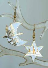 White Cloisonne Enamel Wild Goose Crescent Moon & Star Earrings 1970s vintage