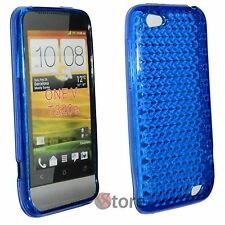Cover for HTC ONE V Blue Diamond Silicone Gel + Film Save Display