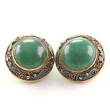 Ohrclips aus China um 1950 echt Silber vergoldet filigran mit Jade ca. 23.86 ct