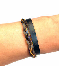 Icon Brand Brown Leather Weave & Wrap Wrist Bands Bracelet One Size