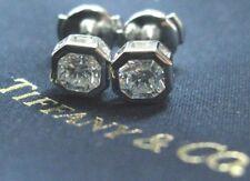 Tiffany & Co Platinum Lucida Diamond Bezel Set Stud Earrings 1.24Ct E-VVS2