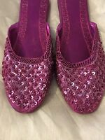 MAROON/PINK LADIES INDIAN LEATHER BACKLESS/SLIPPER/WEDDING MULES SIZE 4