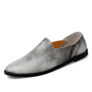 Retro Mens Driving Moccasins Leisure Leather Shoes Pumps Slip on Loafers Casual