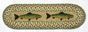 """Tan Country FISH 100% Natural Braided Jute Rug 27"""" x 8.25"""" Oval Capitol Earth"""