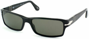 Authentic Persol PO 2747 95/48 Black Rectangle Sunglasses Polarized Green Lens