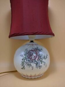 Antique Wedgwood Table Lamp Floral Rose Pattern Unicorn Stamp Silk Shade NICE!