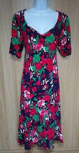 Per Una Womens Multicolour Floral Fit&Flare Jersey Dress Size 16 L