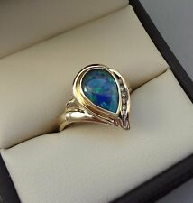 BEAUTIFUL 14K YELLOW GOLD PEAR SHAPED BLUE OPAL SOLITAIRE RING W/ DIAMONDS