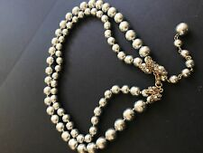 2/Strand sign Miriam Haskell Silver Baroque Pearls Rhinestone Necklace Jewelry