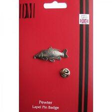 F42 Leather Carp Fish Fishing English Pewter Lapel Pin Badge