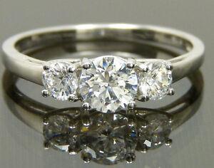 Engagement Wedding Anniversary Swarovski  Zirconia Trilogy  Platinum / Sterling