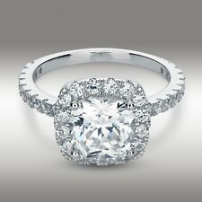 3.20 Carat Cushion Cut Halo Engagement Ring Lab Diamond Solid 14K White Gold