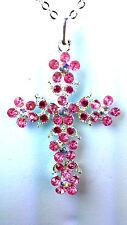 Hermoso Collar Cruz de Piedra Brillante Rosa Nuevo Precioso Lindo Chic