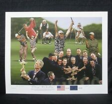 Alan Zuniga Tiger Woods USA 1999 Ryder Cup @ Brookline Golf Lithograph