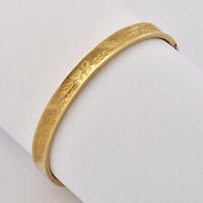 Vintage 1980s 14k Gold  Lovely Hand Chased Floral Motif Round Bangle Fits 6.75""