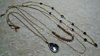 VINTAGE TO NOW ASSORTED GOLD TONE PENDANT CHAIN NECKLACE LOT LIA SOPHIA