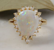 2.75 Carats Natural Ethiopian Opal and Diamond 14K Solid Yellow Gold Ring