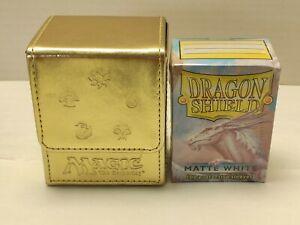Ultra Pro MtG Mana Flip Deck Box Gold Magic The Gathering+Dragon Shield Sleeves