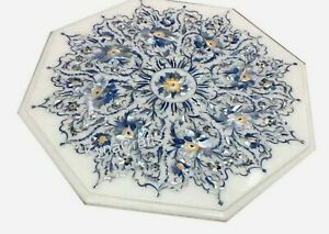21 Inches Marble Coffee Table Top Marquetry Art Patio Table for Hallway Decor