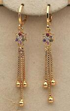 18K Gold Filled- 2.2'' Tassels Chain Flower Ruby Amethyst Topaz Gems Earrings DS