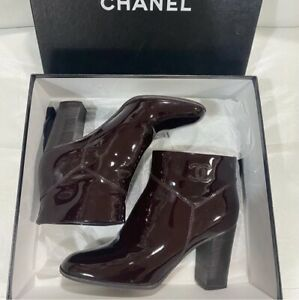 Authentic Chanel Burgundy Patent Leather CC Logo Boots Booties Size EU 38 US 8