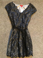 NEW Women's ELLE Black Metallic Lace Dress Size 10 NWT with tags MSRP $64