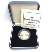 Cased 1989 United Kingdom Silver Proof One Pound £1 Coin Scottish Thistle