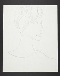 Andy Warhol Rare Vintage 1950s Original Female Portrait Drawing TOP221.026.03