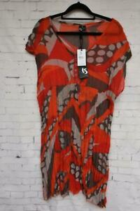 TS TAKING SHAPE Size 16 Multicolour Tunic Top Short sleeve BNWT Red Beige