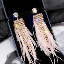 Fashion Women Feather Crystal Earrings Long Tassel Drop Earrings Party Jewelry