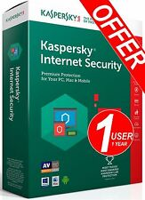 Antivirus Kaspersky Internet Security 2017 1 User Windows MAC OS Android 1 Year