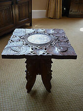 VINTAGE INDIAN CARVED AND INLAID FOLDING TABLE