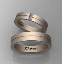 Pair of Wedding bands 14k Select Yellow or White or Rose Gold Po380