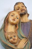 Vintage JESUS MARY JOSEPH Plaque  HOLY FAMILY Wall Hanging Hand Painted Italy ET