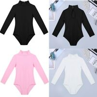 Kids Girls Gymnastics Leotard Turtle Neck Long Sleeve Ballet Dance Dress Costume