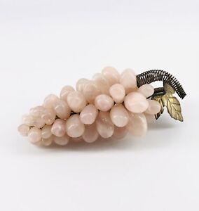 """Vintage Rose Quartz Grape Cluster Stone Fruit with Metal Leaf and Stem 6"""" MCM"""