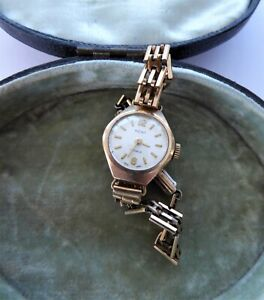 Vintage Ladies 9ct Gold Working Wristwatch Watch Rolled Gold Strap By Kent 1950s