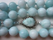 RARE VTG Chinese?Larimar Round Bead Necklace w925 Sterling Silver Teardrop Clasp