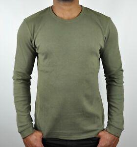 Calvin Klein Premium CK Military Sweater Jumper Sweatshirt In Army Green