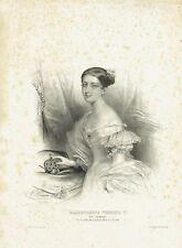 Regina Vittoria d'Inghilterra Alexandrina Victoria - Litografia originale 1800