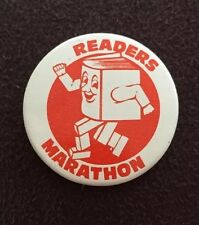 Vintage Readers Marathon Book Pinback Button Teacher Student Award Badge