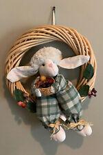 Wicker Bunny Rabbit Holding Fruit Basket Easter 12� Wreath