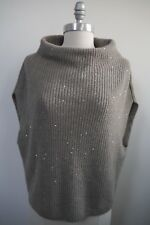 NEW BRUNELLO CUCINELLI taupe scattered sequin cashmere silk poncho sweater XL