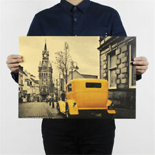 yellow vintage car london street poster kraft paper poster decor wall stickers